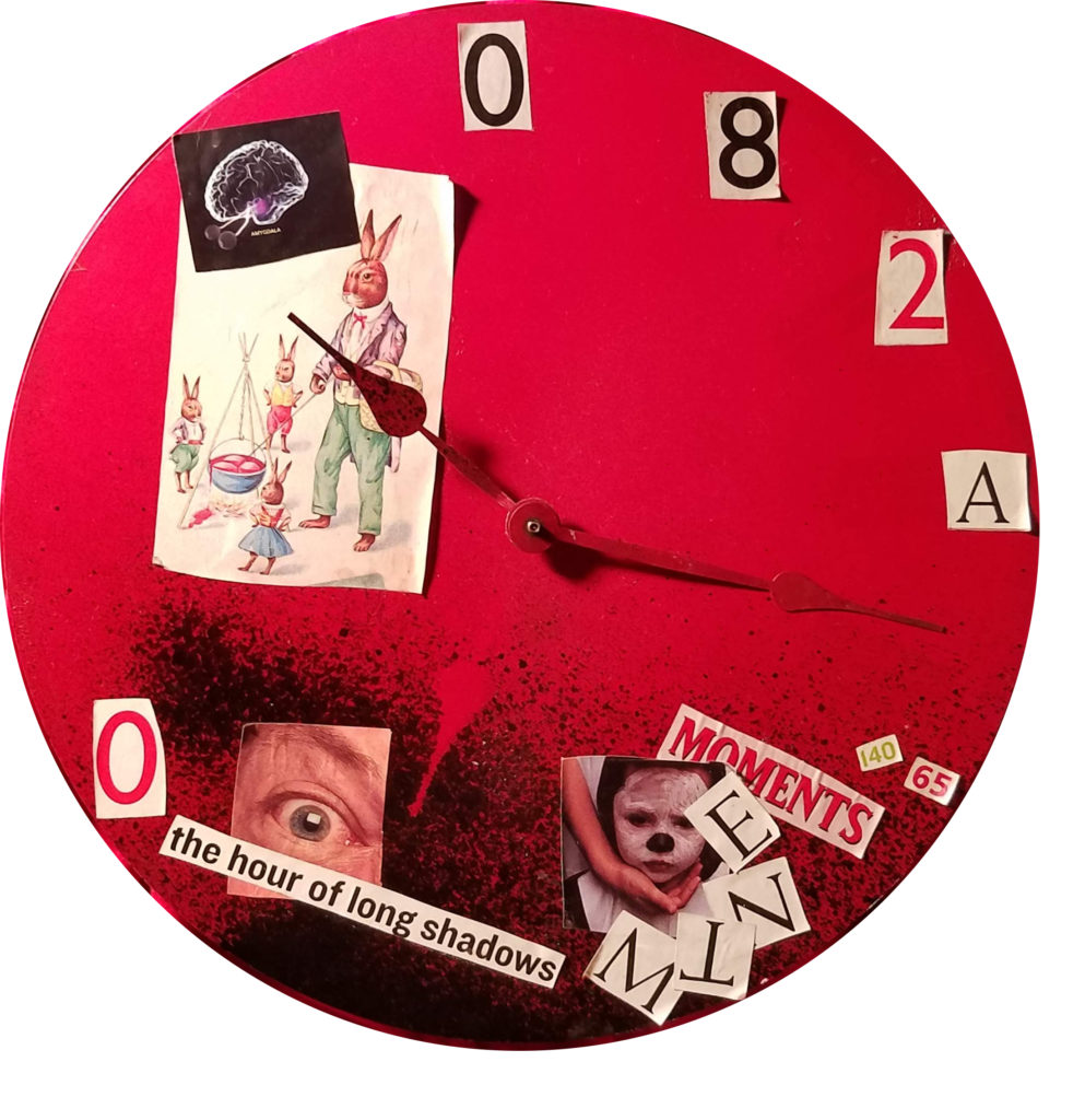 Collage on clock
